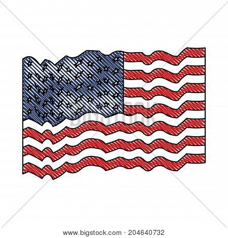 flag united states of america waving in colored crayon silhouette vector illustration