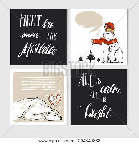 Hand made vector abstract Merry Christmas greeting cards set with cute xmas polar bear characters in winter clothing and modern calligraphy.Greeting seasonal scrapbooking, stickers, diary, congratulation