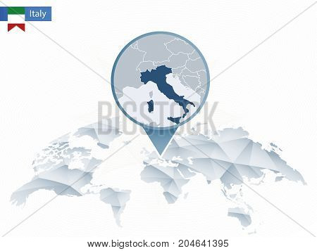 Abstract Rounded World Map With Pinned Detailed Italy Map.