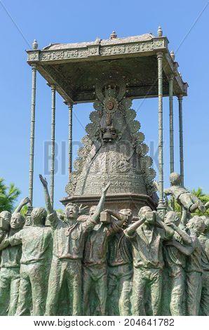 Monument to virgen del Rocio and devoters in Sanlucar de Barrameda Cadiz Andalusia Spain