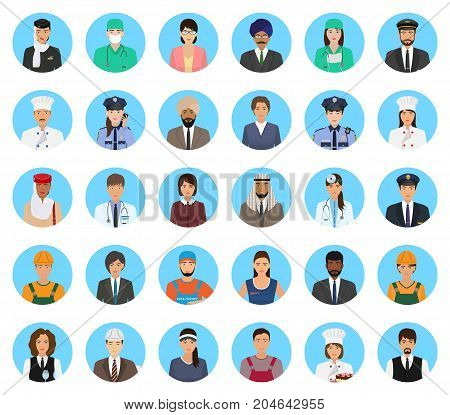 Avatars characters people of different occupation set. Professions persons icons of faces on a blue background. Flat style vector illustration.