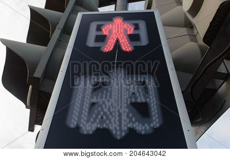 Prohibition signal at a traffic light at a pedestrian crossing
