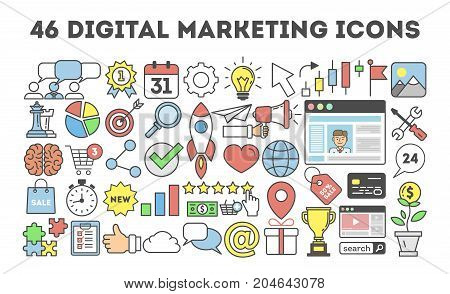 46 digital marketing icons. Golden cup and computer, web page and target.
