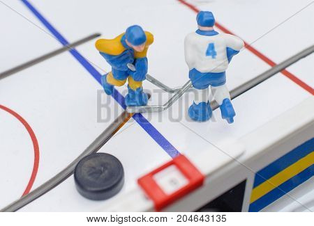 Table hockey game . . . .