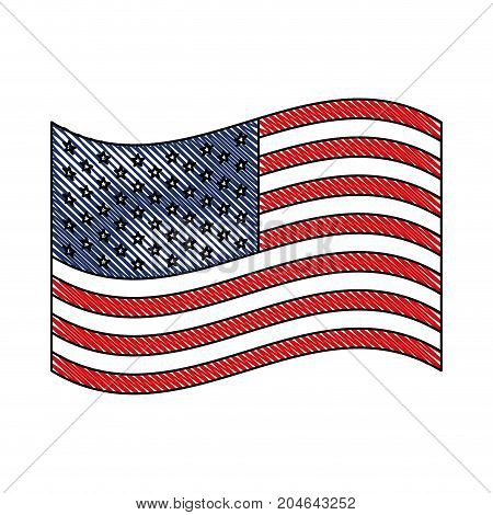 flag united states of america waving design in colored crayon silhouette vector illustration