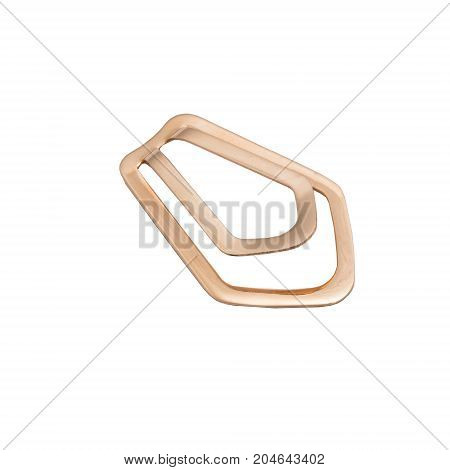 Masculine accessorie - golden clamp for a tie isolated on white background