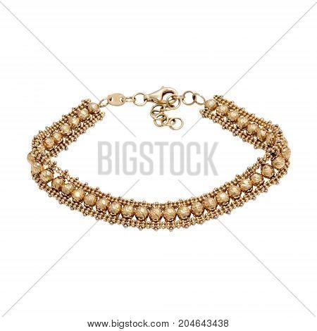 Graceful golden bracelet isolated on white background