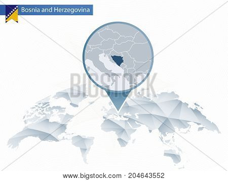 Abstract Rounded World Map With Pinned Detailed Bosnia And Herzegovina Map.
