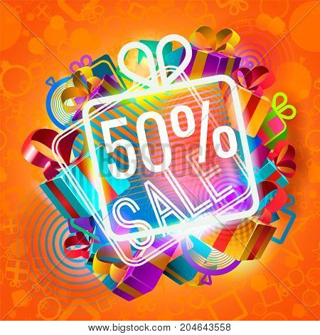 Pile of colorful gift boxes and 50 percent sale announcement on red background.
