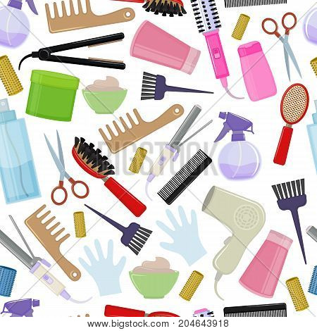Seamless background of colorful equipments for styling and hair care. Products and tools for home remedies of hair care. Vector