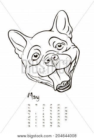 calendar for 2018 with portraits of dogs of different breeds black and white graphic vector illustration