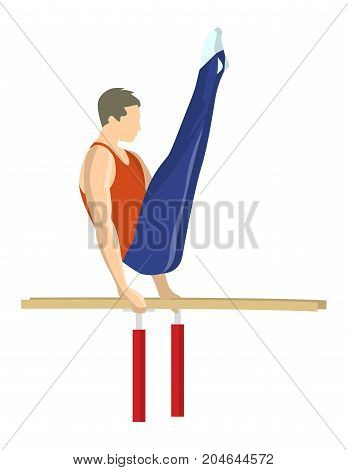 Gymnastics on parallel bars. Athlete in uniform on white background.