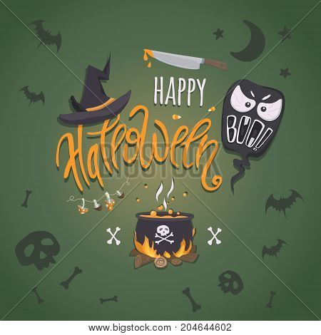 Happy halloween. Vector poster with hand-drawn lettering and traditional elements for halloween: pot with a potion witch hat ghost bunch of poisonous mushrooms a knife with fake blood and bats skulls and bones.