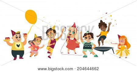 vector flat kids at party set. Funny girls whistling, singing at microphone dancing , running with balloon, boys jumping at trampoline, dancing, eating cake . Isolated illustration on white background