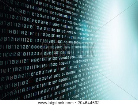 Vector binary code background with blue light.