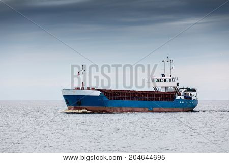 cargo ship on the waters. sea freight transportation