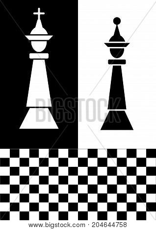 Chess flyer in black and white design, white chess king on black background, black chess queen on white background, chessboard. Graphic template for the chess club, Vector EPS 10