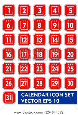Calendar icon set in red and white design. Square icons with thin metallic frame, calendar pictogram with numbers from 1 to 31, web design elements, vector EPS 10