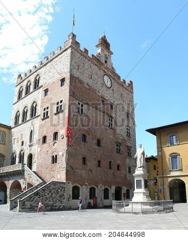 Prato Italy august 2 2015: Pretorian Palace Small city Prato in Tuscany