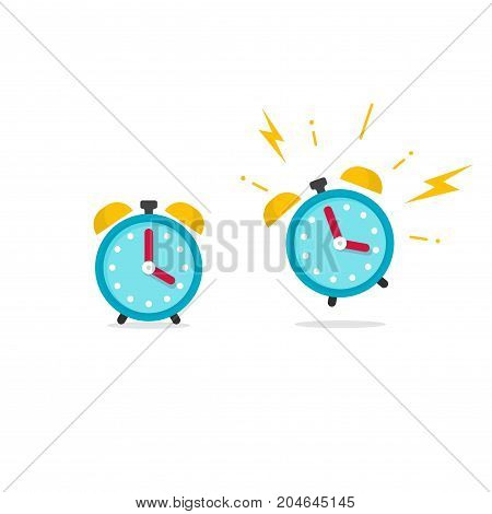 Alarm clock icon vector illustration, flat cartoon ringing retro alarm with time of wake up isolated on white background