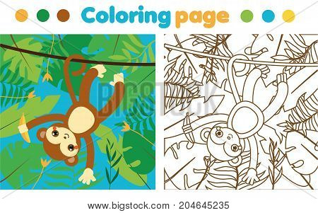 Coloring page for children. Monkey in jungle. Drawing kids activity. Printable worksheet for toddlers