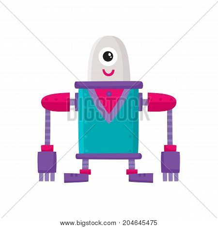 vector flat cartoon funny friendly robot. Big Humanoid character with short legs and long arms and one big eye, smiling. Isolated illustration on a white background. Childish futuristic android.