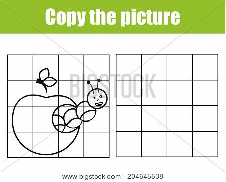Grid copy picture activity. Educational children game. Printable Kids activity sheet with caterpillar