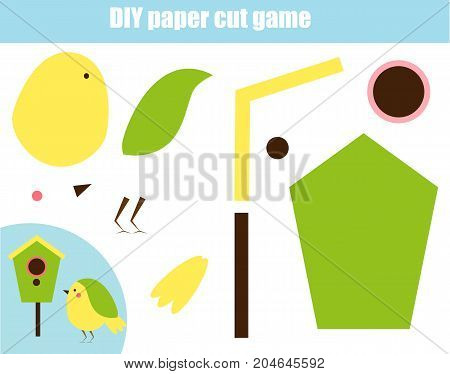 DIY children educational creative game. Make a a bird and birdhouse with scissors and glue. Paprecut activity. Creative printable tutorial or kids. Animals theme