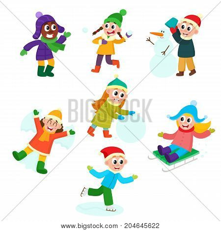 Set of kids, children, boys and girls doing winter activities, having fun, cartoon vector illustration isolated on white background. Kid, children play snowballs, make snowman, ice skate, ride a sled