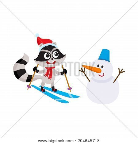 Cute little skiing raccoon character and funny snowman, winter activity, cartoon vector illustration isolated on white background. Little skiing raccoon character and snowman, having fun in winter