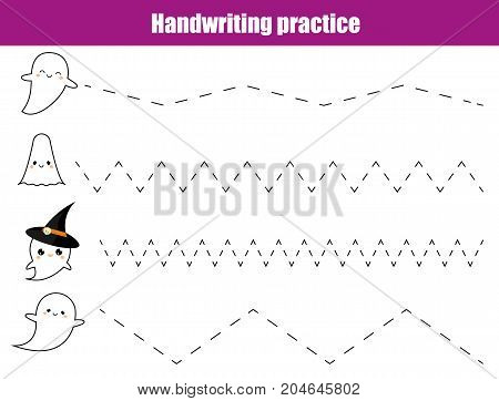 Handwriting practice sheet. Educational children game printable worksheet for kids. Writing training printable worksheet. Halloween theme activity