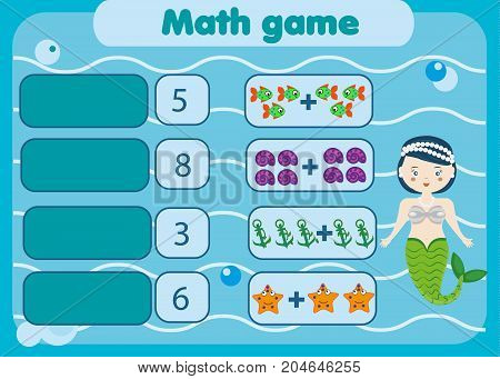 Math educational game for children. Matching mathematics activity. Counting game for kids with mermaid.