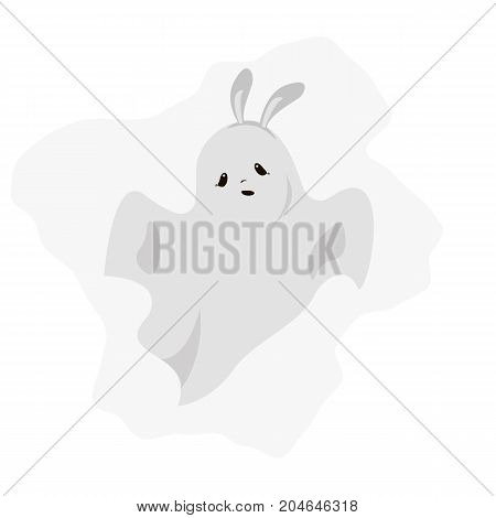Vector flat illustration with Diy spooky ghost. Halloween. Cute ghost. Bunny rabbit image.