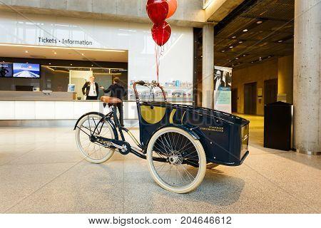 Stavanger Norway - August 24 2017: Advertising cart in the Stavanger Concert Hall