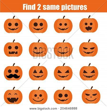 Find the same pictures children educational game. Find equal pairs of Halloween pumpkins kids activity
