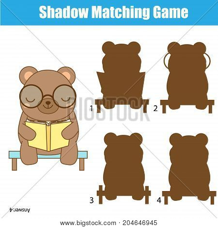Shadow matching game for children. Find the right shadow. Activity for preschool kids with cute bear
