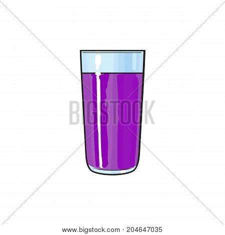 Vector cartoon glass cup of purple fresh fruit juice. Isolated illustration on a white background. Soft drink, refreshing beverage image.