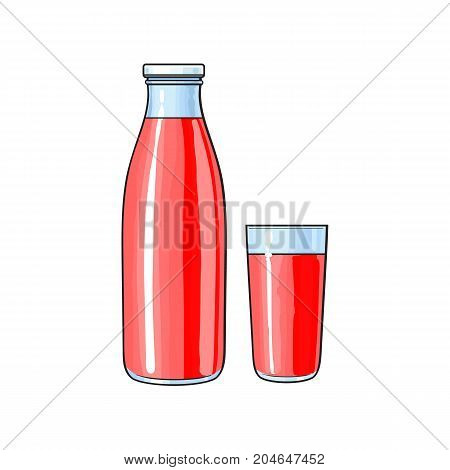 Vector cartoon glass bottle and cup of red fresh fruit juice. Isolated illustration on a white background. Soft drink, refreshing beverage image.
