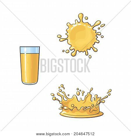 Glass and splashes of orange juice, realistic hand drawn, sketch style vector illustration isolated on white background. Hand drawn orange juice glass and two types of splashes