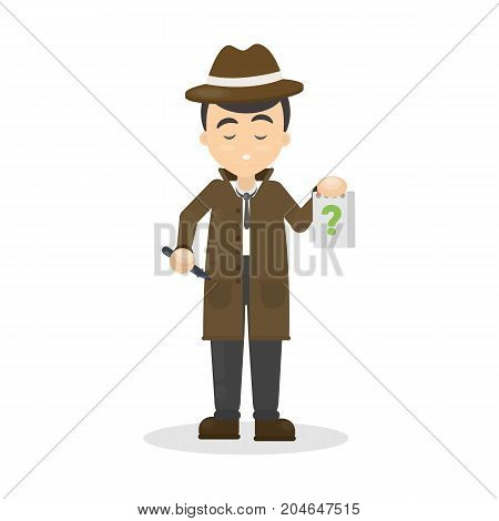 Isolated detective with questions on white background.