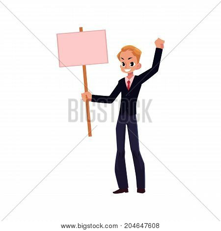 Vector office worker with blank pink banner placard isolated illustration on a white background. Business emplyee character holds pink placard, shows thumbs up sign. Business promotion template design