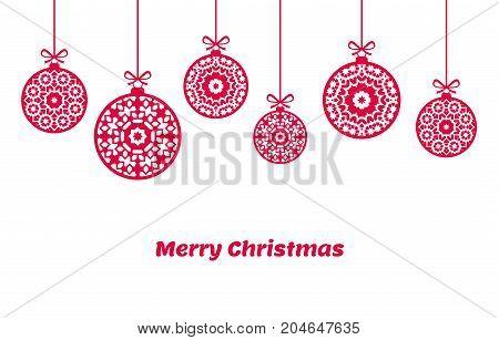 Christmas balls ornaments, xmas decoration, vector illustration