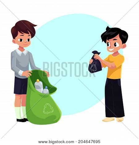 Kids, boys collect plastic bottles into garbage bag, waste recycling concept, cartoon vector illustration with space for text. Two children, boys collect garbage together