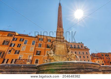 Pantheon Fountain( Fontana Del Pantheon)  Near Pantheon, Rome , Italy.