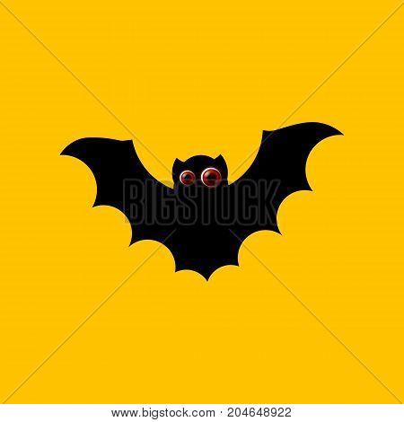 Halloween flying bat isolated on yellow background. Cute looking eyes. Vampire icon. Vector bat illustration