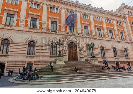 Rome, Italy- May 10, 2017 : Chamber Of Deputies (camera Dei Deputati) In Rome Is A House Of The Bica