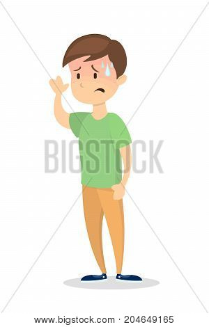 Isolated man with fever on white background.