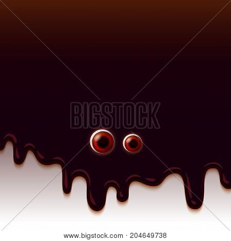 Dripping Melted chocolate Glaze looking to you. Realistic Eyes look. Halloween holiday background with eyes. Horror concept