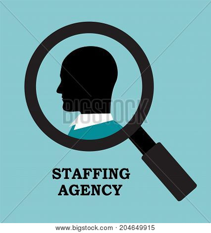 recruitment agency is looking for an employee Magnifying glass and profile of a businessman