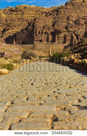 Ancient abandoned rock city of Petra in Jordan tourist attraction